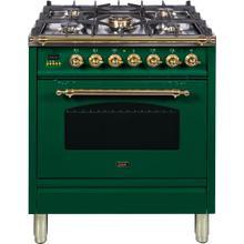Nostalgie 30 Inch Dual Fuel Liquid Propane Freestanding Range in Emerald Green with Brass Trim