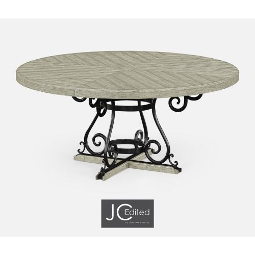 """66"""" Rustic Greay and Wrought Iron Dining Table"""