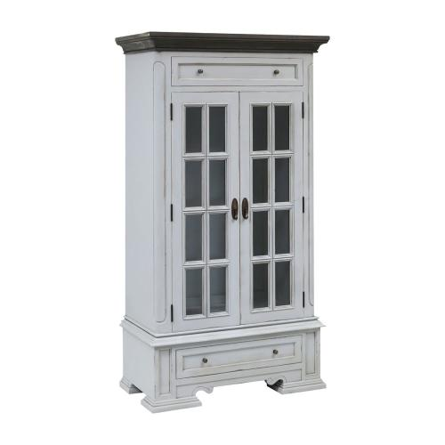 Hartford 2-door 2-drawer Cabinet With 3 Inner Shelves In Light Grey With Dark Grey Top