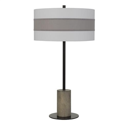 Jumilla Wood/Metal Table Lamp With Drum Shade Highlighted With Plantium Grey Trim