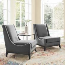 Confident Lounge Chair Upholstered Performance Velvet Set of 2 in Gray