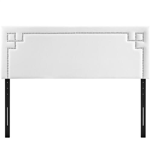 Josie Queen Upholstered Vinyl Headboard in White
