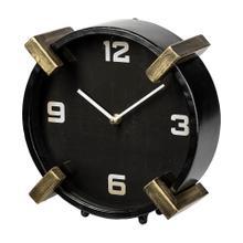 See Details - Agar Black Metal Round Table Clock