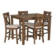 Langston Dark Dining Table and 6 Upholstered Chair Set, Brown Product Image