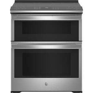 "GE ProfileGE Profile™ 30"" Smart Slide-In Electric Double Oven Convection Fingerprint Resistant Range"