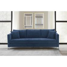 See Details - Heritage Blue Fabric Upholstered Sofa with Brushed Stainless Steel Legs