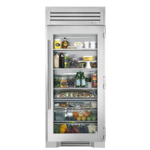 True Residential36 Inch Stainless Glass Door Right Hinge Refrigerator Column