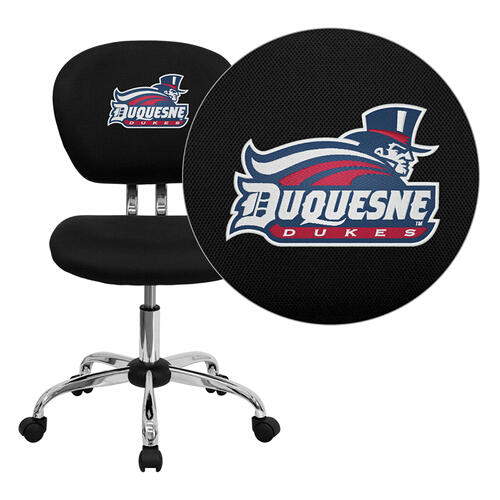 Duquesne University Dukes Embroidered Black Mesh Task Chair with Chrome Base