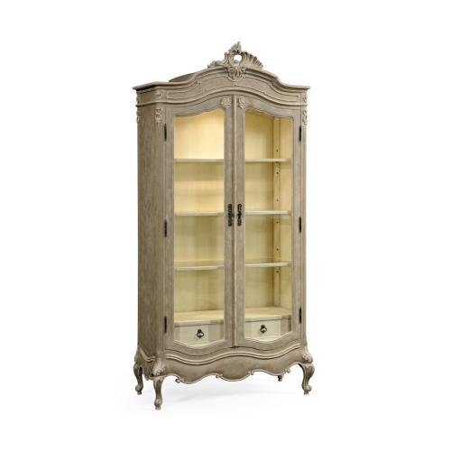 French provincial grey painted glazed armoire