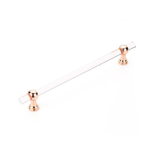 """Lumiere Transitional, Non-Adjustable Appliance Pull, Acrylic, Polished Rose Gold, 12"""" cc"""
