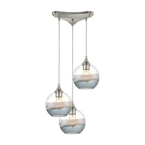 Sutter Creek 3-Light Triangular Mini Pendant Fixture with Clear, Grey, and Smoke Seedy Glass