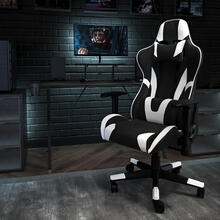 Black Gaming Desk and Black Reclining Gaming Chair Set with Cup Holder, Headphone Hook, and Monitor\/Smartphone Stand