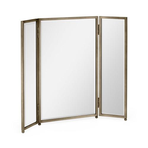 Triple Bronzed Stainless Steel Dressing Table Mirror
