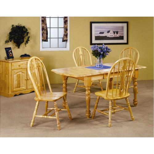 Extendable Dining Table w/Drop Leaf & Keyhole Chairs (5 Piece)