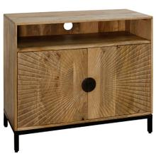 SOLID MANGO WOOD  32ht X 36w X 16d  Two Door Entertainment Cabinet with Fan Cut Doors & Iron Base