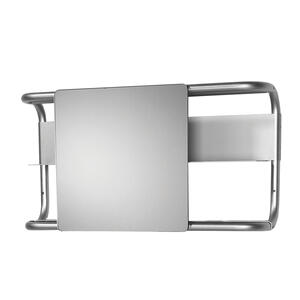 Aeri rectangular wall mount aluminum frame with two shelves and a rectangular sliding mirror. Product Image