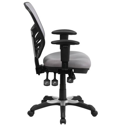 Flash Furniture - Mid-Back Gray Mesh Multifunction Executive Swivel Ergonomic Office Chair with Adjustable Arms