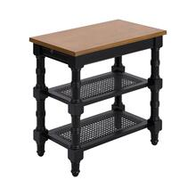 Seneca Falls Accent Table In Black With Nostalgic Oak Top