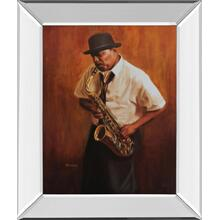 """Sax Player Mirror Framed Print Wall Art"