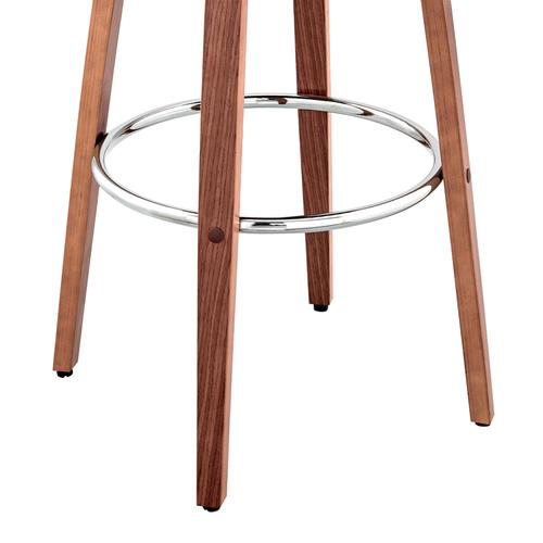 """Armen Living - Julius 26"""" Brown Faux Leather and Walnut Wood Bar Stool"""