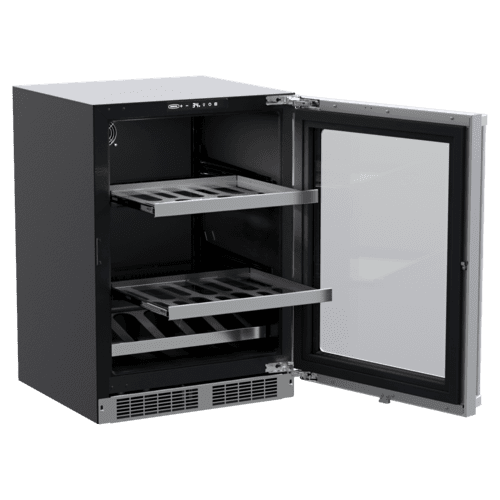 Marvel - 24-In Professional Built-In Beverage Center With Reversible Hinge with Door Style - Stainless Steel Frame Glass