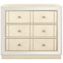 See Details - Sloane 3 Drawer Chest - Antique Beige / Nickel / Mirror
