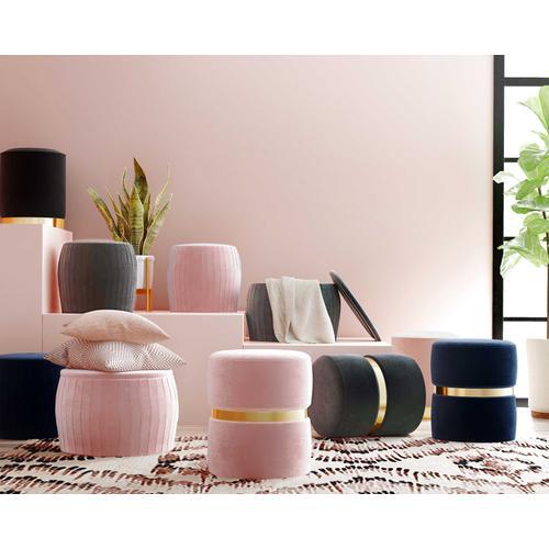 Tov Furniture - Pri Blush Velvet Ottoman