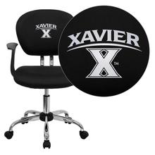 Xavier University Crusaders Embroidered Black Mesh Task Chair with Arms and Chrome Base