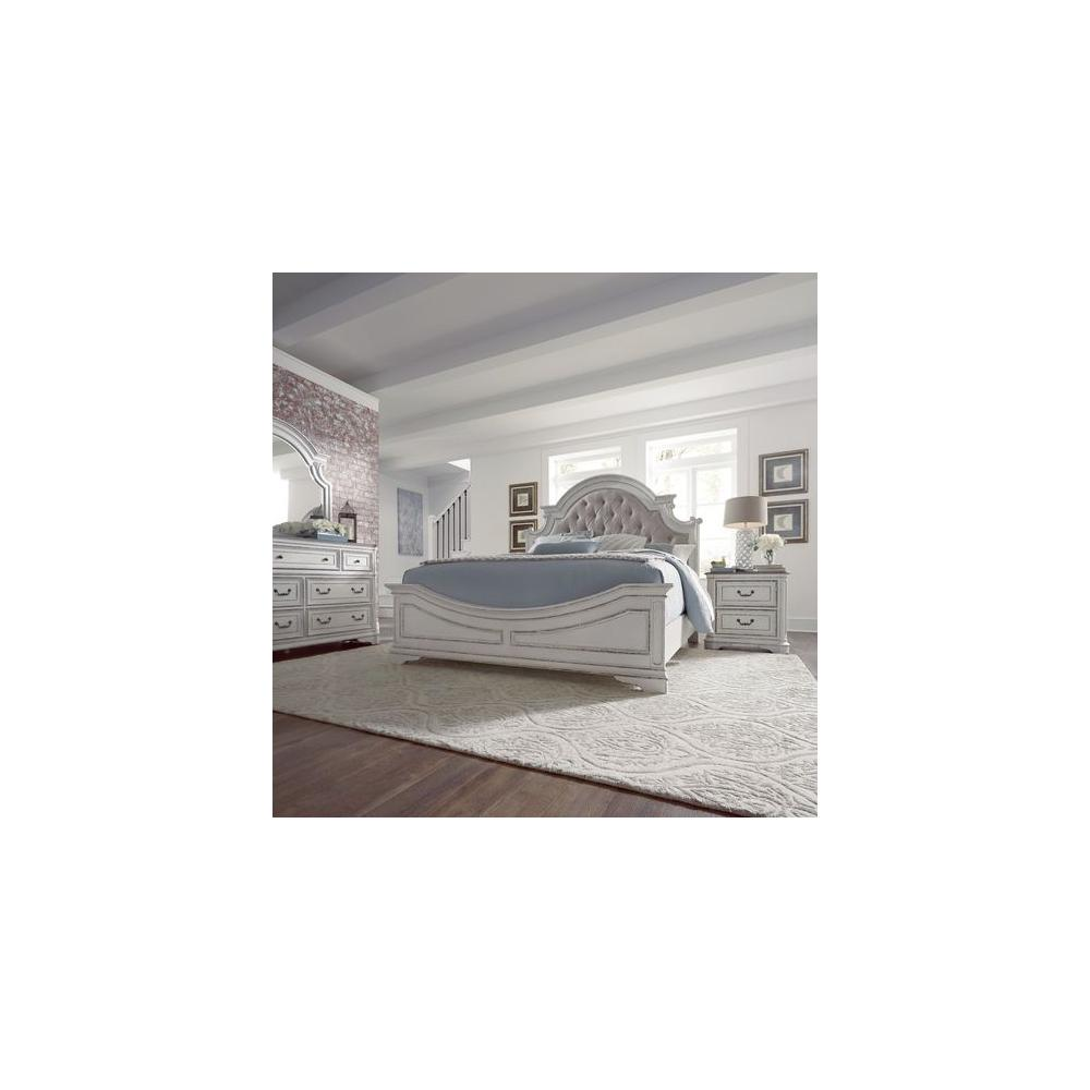 Queen Uph Bed, Dresser & Mirror, Night Stand