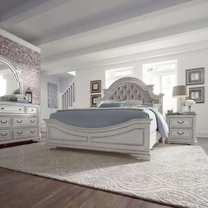 Queen Uph Bed, Dresser & Mirror, Night Stand