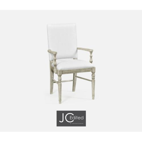 Rustic Grey Arm Chair, Upholstered in COM