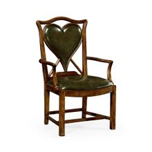 "Playing Card ""Heart"" Arm Chair with Medium English Library Green Leather"