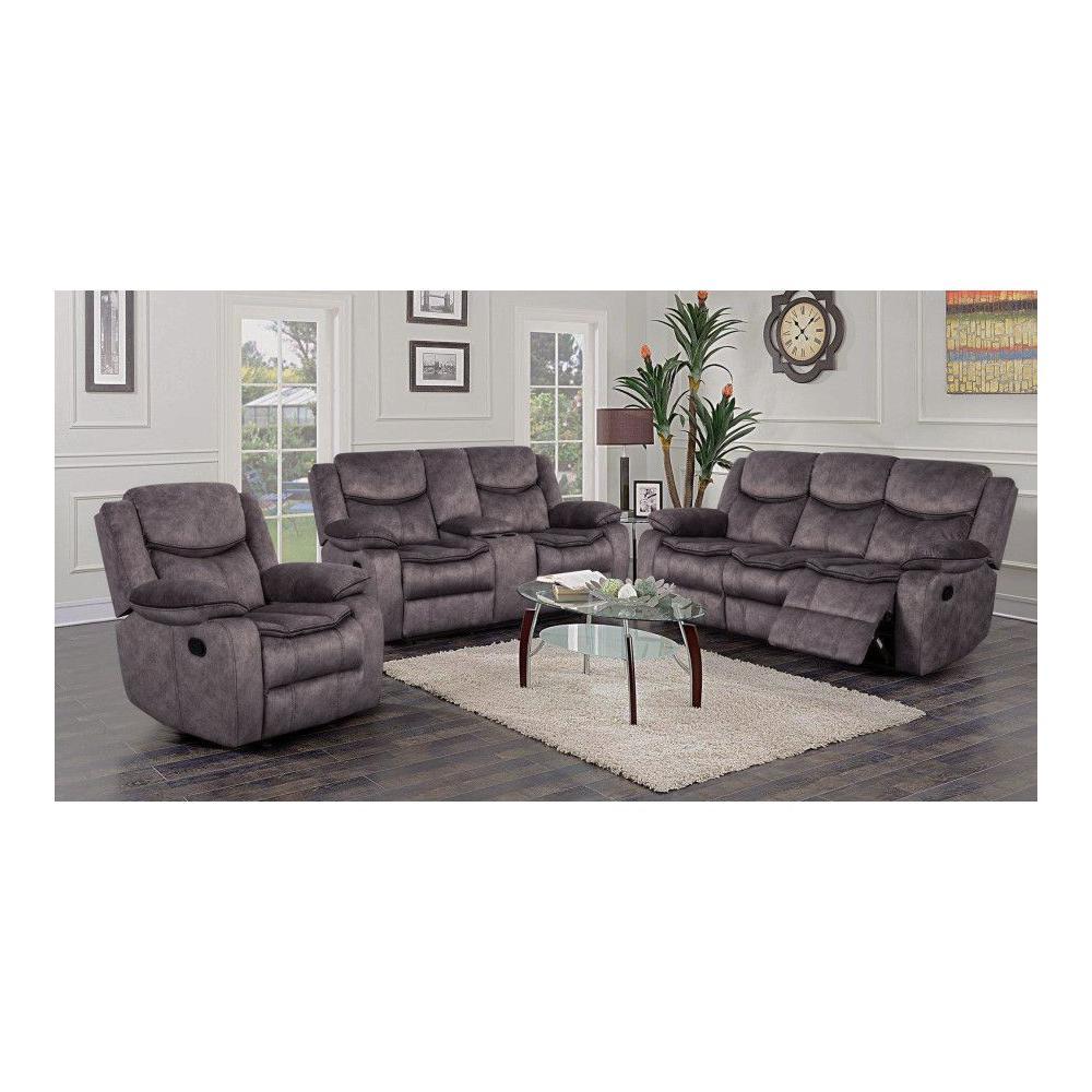 Logan Gray Sofa, Console Loveseat & Recliner, M6629