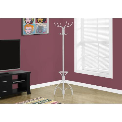 """Gallery - COAT RACK - 70""""H / WHITE METAL WITH AN UMBRELLA HOLDER"""