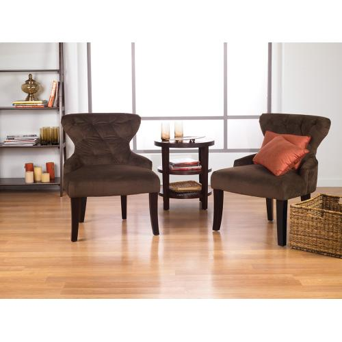 Curves Hour Glass Accent Chair In Chocolate Velvet Fabric With Espresso Legs