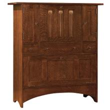 Bottom Door Concealed Storage, Oak Harvey Ellis Fall-front Bar