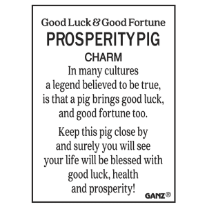 Good Luck & Good Fortune Prosperity Pig Charms in a Basket (36 pc. ppk.)