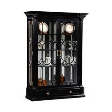 Black painted display cabinet with column detail