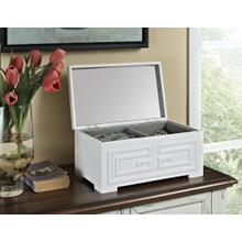 Lift Top With Inset Mirror Jewelry Box, White