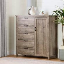 Lionel - Door Chest with 5 Drawers, Weathered Oak