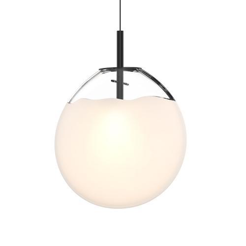 Sonneman - A Way of Light - Cantina LED Pendant [Size=Large, Color/Finish=Satin Black w/Poured White Glass]