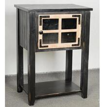 Side table antq black body and weathed wood door/MDF and solid wood legs