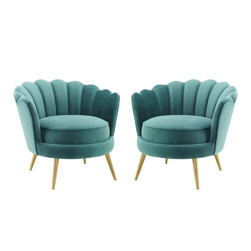 Admire Accent Armchair Performance Velvet Set of 2 in Teal