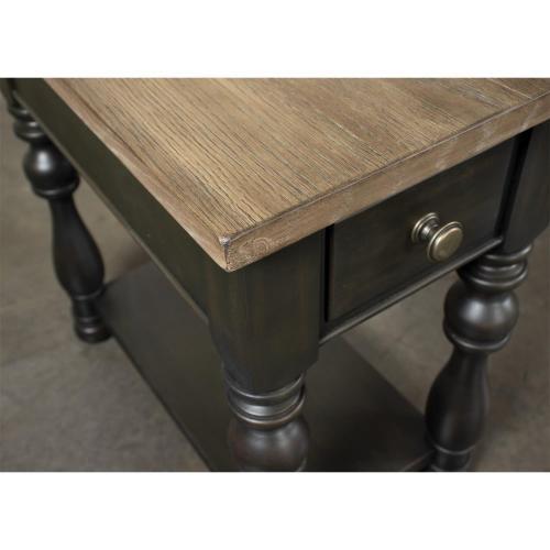 Chairside Table - Antique Oak/matte Black Finish