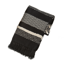 Black & Natural Multi Pattern Woven Throw