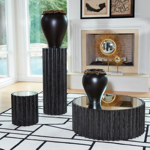 Reflective Column Pedestal-Black Cerused Oak