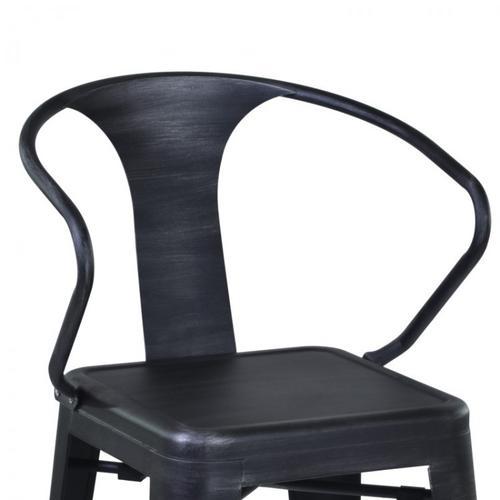 "Armen Living Berkley 30"" Barstool in Industrial Gray Steel finish and seat"
