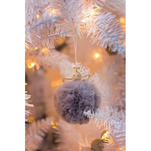 """3"""" x 3.5"""" Grey Angel Puff Ornament"""