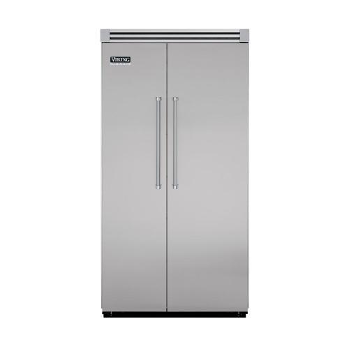 "Viking - Metallic Silver 42"" Quiet Cool™ Side-by-Side Refrigerator/Freezer - VISB Tru-Flush™ (42"" wide)"