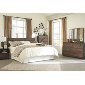 King Panel Headboard With Mirrored Dresser and Chest